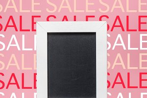 empty blackboard in white frame on p