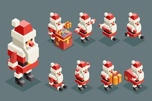 Isometric lowpoly Santa Claus