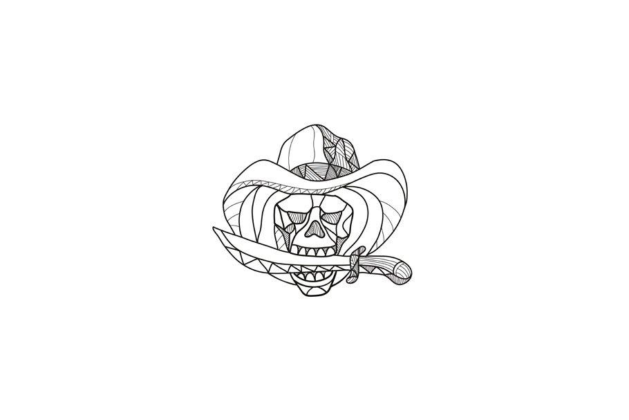 f2d84b2dc49 Cowboy Pirate Skull Biting Dagger Mo ~ Illustrations ~ Creative Market
