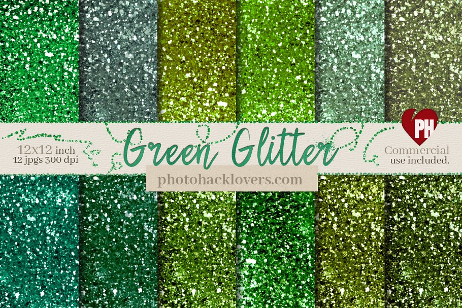Green Glitter Digital Paper in Textures - product preview 8