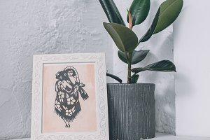 Tattoo design in frame in modern stu
