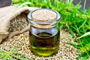 Hemp oil in a glass jar