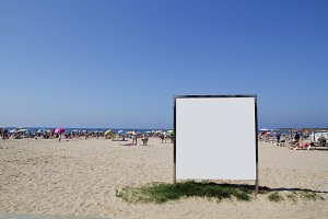 Blank billboard in a beach