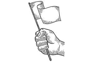 Hand with white flag illustration