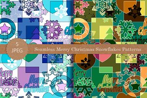Seamless Merry Christmas Snowflakes