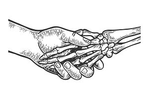 Death skeleton handshake engraving