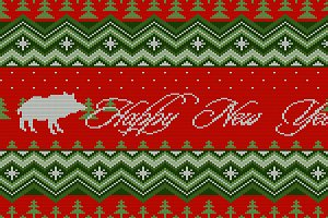 Bright Christmas knitted pattern