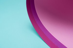 twisted pink and purple paper on tur