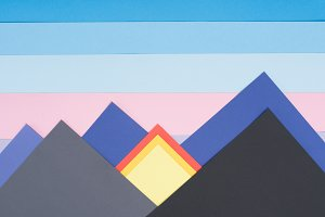 decorative mountains made of colored