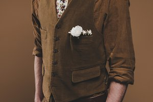 Young man in vintage styled clothes