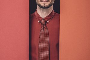Young businessman in red shirt by re