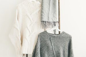 Fall or winter warm sweaters on