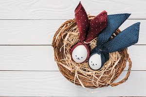 top view of easter chicken eggs with