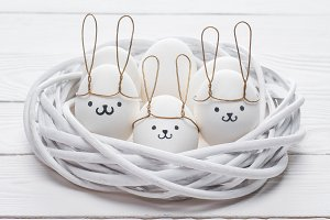 easter chicken eggs with smileys and