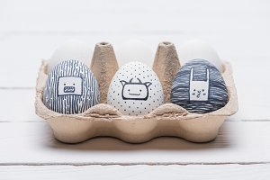painted easter eggs with marker on t