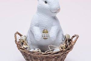 ester rabbit with quail eggs and str