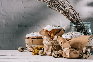 easter bread, catkins and quail eggs