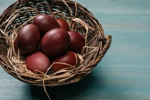 easter basket with painted eggs and