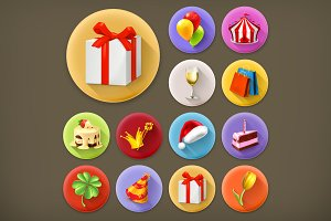 Holiday and gifts vector icons