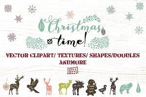 Christmas vector clip art and textur