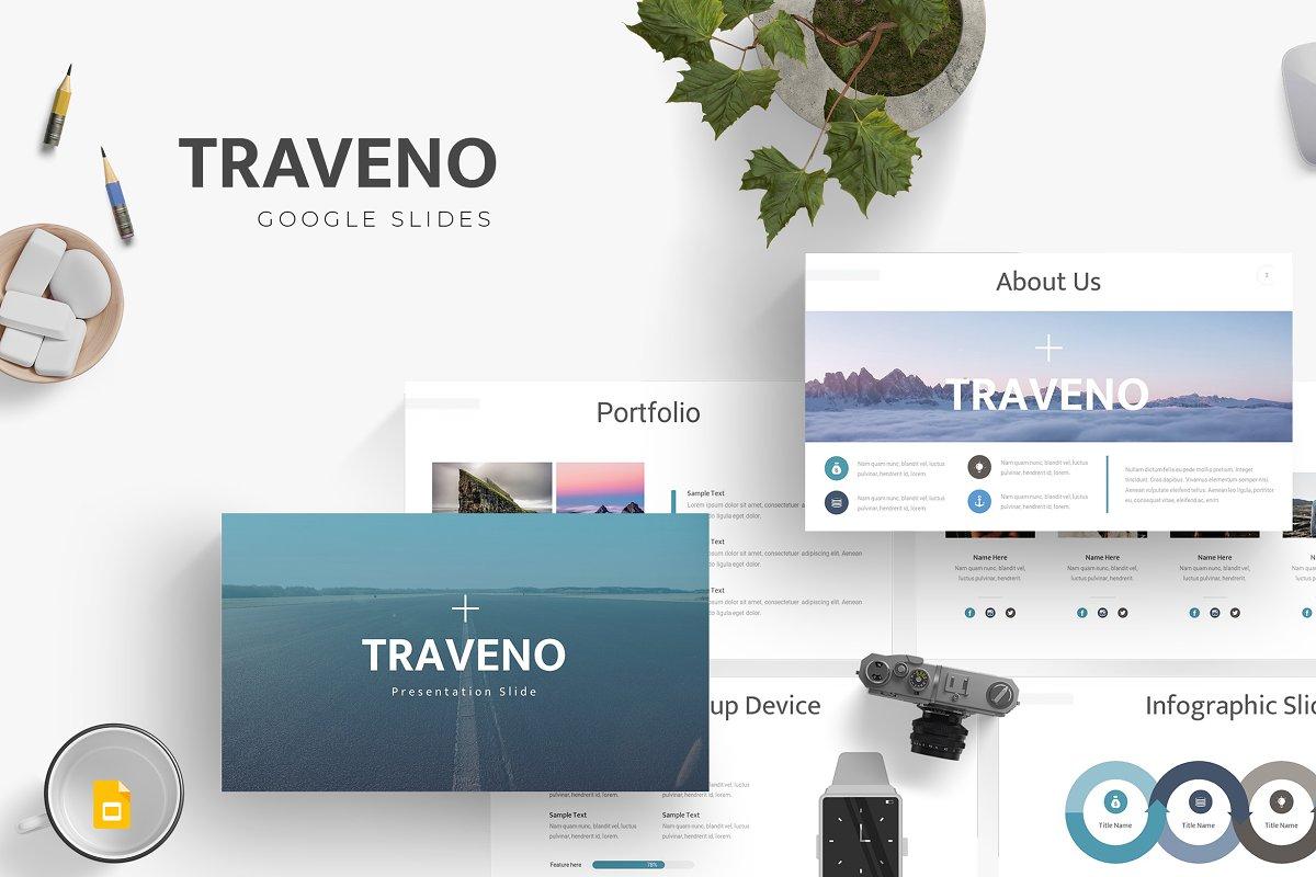 9f6a11f5b6 Traveno - Google Slides Template ~ Logo Templates ~ Creative Market