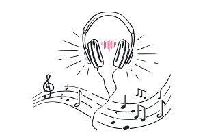 Headphones, Sheet Music Notes