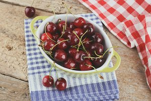Cherries on the table