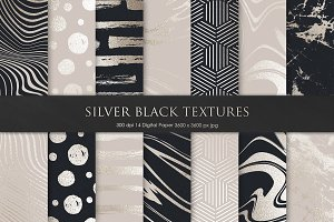 Silver Black Marble Textures