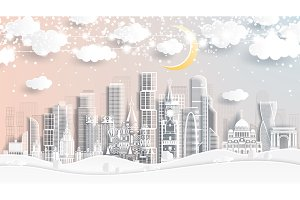 Moscow Russia Skyline in Paper Cut