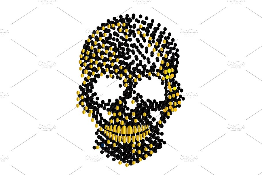 Gold metallic skull icon, artistic