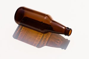 close up view of empty glass bottle