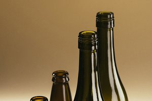 close up view of empty glass bottles