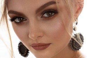 Closeup face of a pretty caucasian