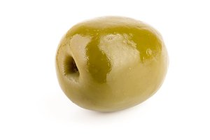 Green olive isolated on a white