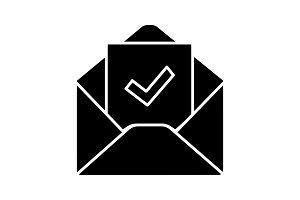 Email confirmation glyph icon