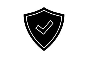 Security approved glyph icon