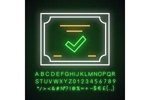 Certificate neon light icon