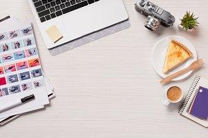 office desk with laptop, designer su