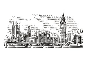 London Cityscape Vector Illustration