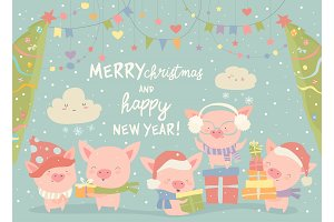 Funnycartoon pigs with Christmas