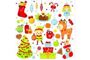 Cute kawaii Christmas stickers, icon