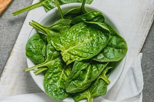 Top view of organic spinach leaves i