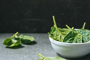 Green and healthy spinach leaves in
