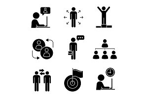 Business management glyph icons set