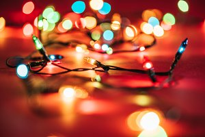 blurred shining colourful garlands a