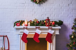 Fireplace with decorations near Chri