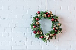 Christmas wreath decorated with ball