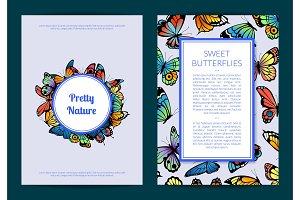 Vector decorative butterflies card