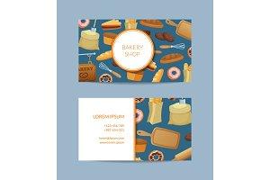Vector cartoon bakery business card