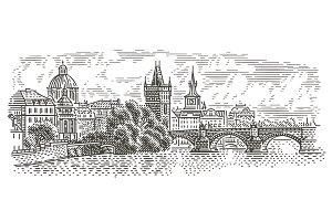 Prague view vector illustration